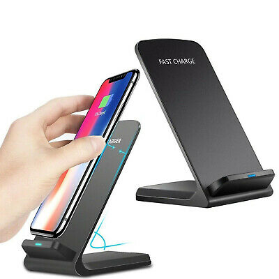 Qi Wireless Fast Charger Charging Pad Stand Dock For Samsung Galaxy S9 iPhone XS