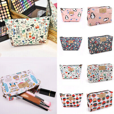 Cute Cartoon Cosmetic Bag Fox Pattern Women Make Up Bag Floral Toiletry Bags