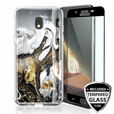 For Samsung Galaxy J7 Star/Crown/V 2018 Marble Glitter TPU Case+Tempered Glass