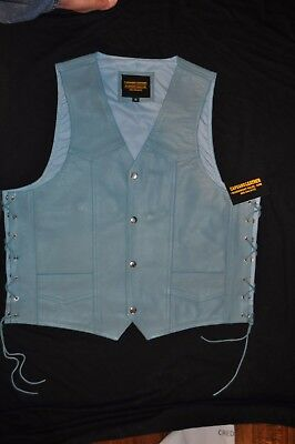 Light Blue Knights® Genuine Leather Vest Vest Quality Official Color