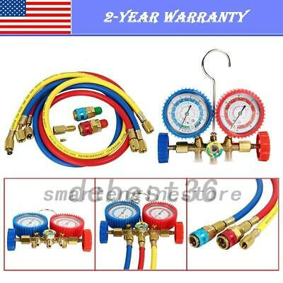R134A R12 R22 R502 HVAC A/C Refrigeration Charging Manifold Gauge Kit Set 5FT