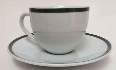 WILLIAMS SONOMA Brasserie Green Banded Porcelain Stripe Cafe cup and saucer