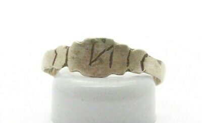 Post Medieval period Silver ring with inicials. 18 Century