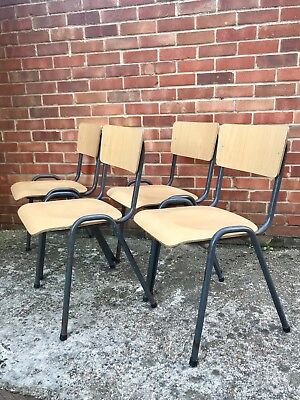 Bistro Stacking Chairs Four RETRO Vintage Midcentury Dining Table Formica