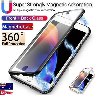 For iPhone XR Xs Max X 8 7 Plus 360° Magnetic Metal Case Front+ Back Glass Cover