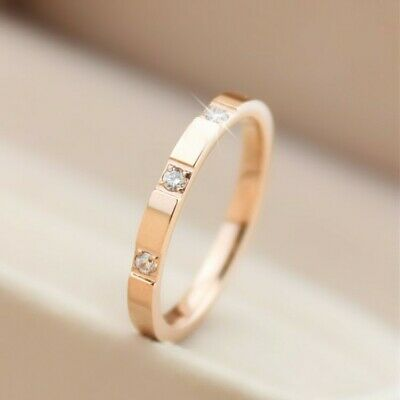 2mm Thin Stackable Ring Stainless Steel 3 Stone CZ Wedding Band for Women Girl