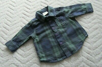 Baby Boys 100% Cotton Green & Navy Checked Long Sleeve Shirt (0-1 Month/Newborn)