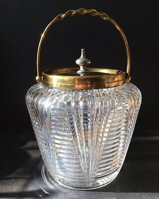 *Rare* Antique Victorian Percival Vickers Pressed Glass Biscuit Barrel c1891