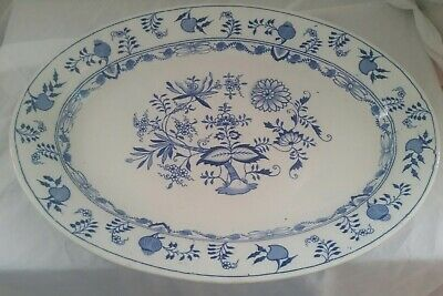 """Antique Grimwades """"Carro"""" Blue Onion Very Large Meat Platter 18 Inches Early 20C"""