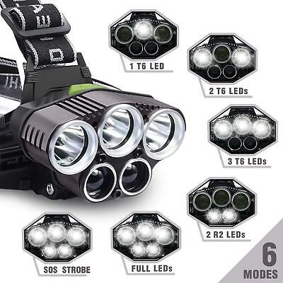90000LM 5X XM-L T6 LED Glare Headlamp Head Light Torch Flashlight Camping Lamp