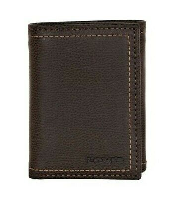 Levi's Mens Rfid Blocking Leather Trifold Wallet With Interior Zipper
