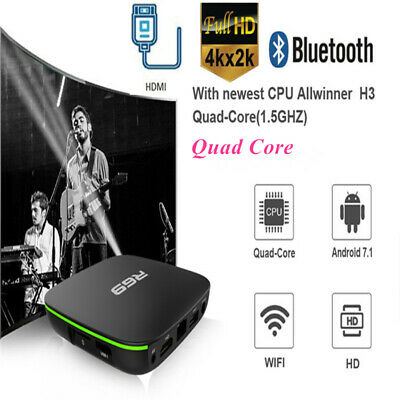 R69 H3 Smart Home TV Box Quad Core 2.4GHz WiFi HD BT 4K Android 7.1 Media Player