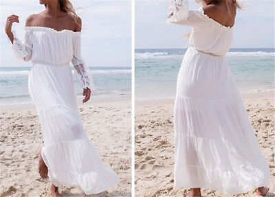 Womens White Strapless Long Sleeve Loose Sexy Off Shoulders Lace Boho Maxi DreCP
