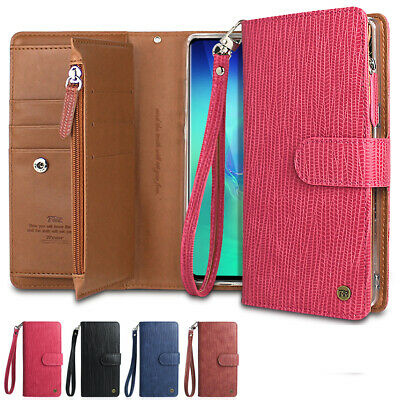 For Galaxy S10 S9 S8 Plus Note9 8 5 Wallet leather Case Double Zip-up Flip Strap