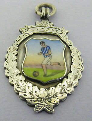 Antique Solid Silver Enamel Football Watch Fob Medal Pendant Chester 1911 Boxed