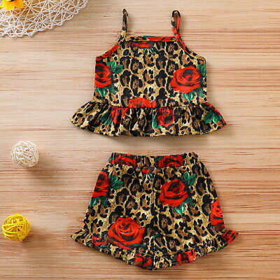 Baby Girls Leopard Floral Printed Tank Tops Shorts Pants Kids Summer Outfits Set