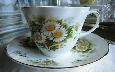 Royal Dover China..teacup And Saucer.. White Daisies... Absolutely Beautiful