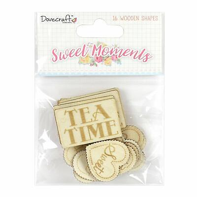 CLEARANCE 16 Natural Wooden Sweet Moments Sentiment Card Making Embellishments