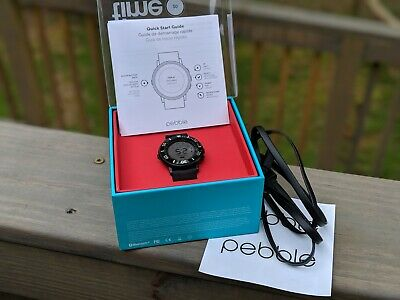 Pebble Time Round 20mm Strap 38,5mm Stainless Steel Case Nero Black Classic...