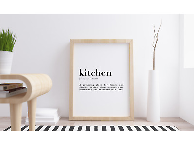 Kitchen Definition Meaning Quote Wall Art Print Poster. Inspirational Home Decor