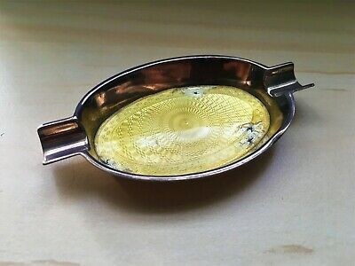 Collectable Rare Solid Sterling Silver & Yellow Guilloche Enamel Pen/Ash Tray 2