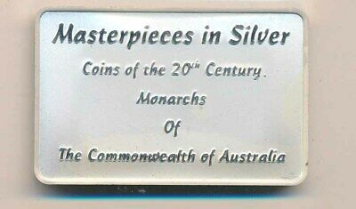 Australia: Royal Australian Mint 29.5g Silver ingot From 2000 Masterpieces