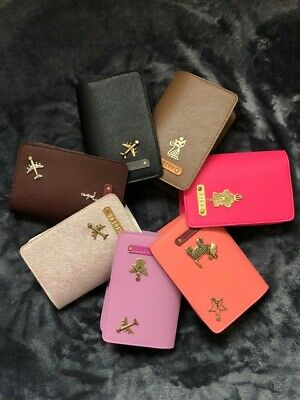 Personalized Customised Leather Passport Holder Cover Free Name & Charm