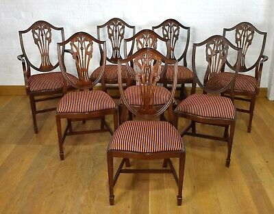 Antique style set of 8 carved shield back dining chairs