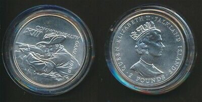Falkland Islands: 1986 Scotland Commonwealth Game £2 Silver Crown UNC, Shooting