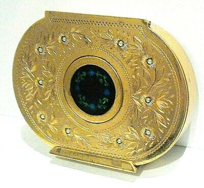 Vintage C1940 French Oval Gilt  Powder Compact Seed Pearls & Enamel Stunning