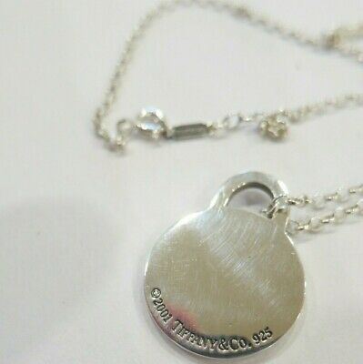 2001 Tiffany & Co. Sterling 925  Necklace Round Pendent 18""