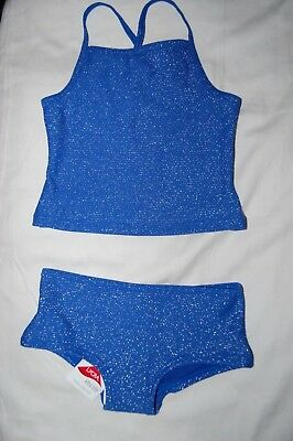 M&S  2 Piece Sparkly Tankini Set Blue Mix UPF 50+ Age 5-6 Years BNWT
