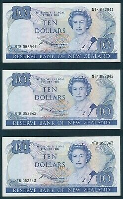 "New Zealand: 1985 $10 Russell QEII ""CONSECUTIVE TRIO"". Pick 172b EF Cat $105+"