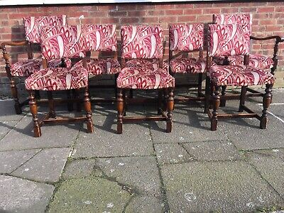 Lovely Vintage Set of 8 Cromwell Solid Oak Upholstered Dining Chairs