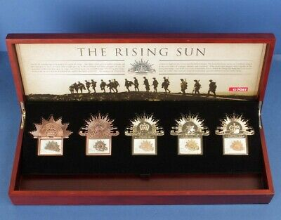 Australia: Rising Sun Hat Badge set, 5 different Risings Sun stamps . ANZAC