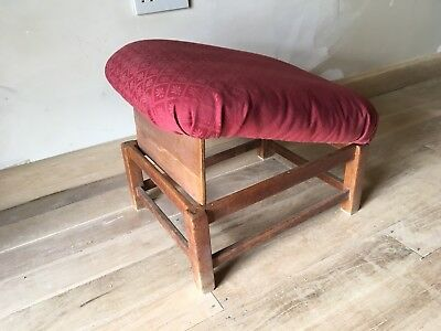 Late Victorian Or Early Edwardian Overstuffed Gout Stool In Oak