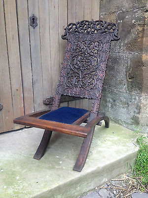 Antique Victorian Heavily Carved Rosewood Anglo Indian Folding Campaign Chair