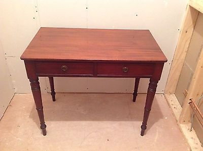 Good 19th Century Victorian Flame Mahogany Two Drawer Desk Hall Console Table