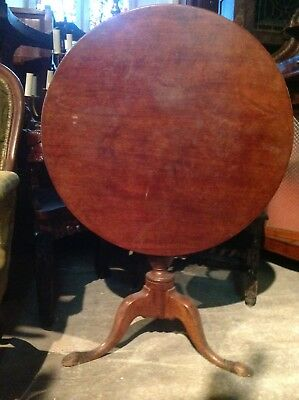 Georgian Mahogany Round Snap Tilt Top Tea Centre Occasional Side Tripod Table