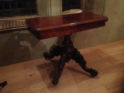exceptional inlaid burr walnut victorian fold over card table breakfast hallside