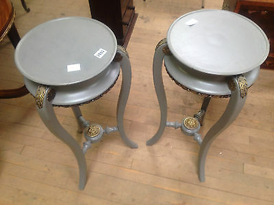 pair french victorian grey painted ormolu torcheres plant candle stand jardinier