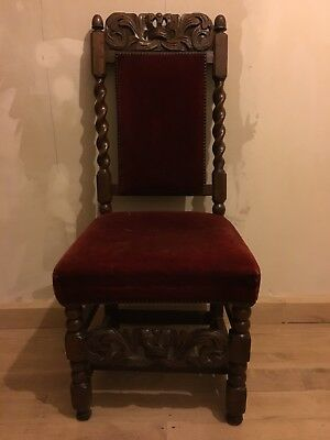 17th Century Carved Chair Red Velvet Upholstery