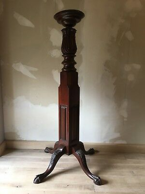 carved victorian gothic mahogany church torchere candle flower stand Ball & Claw