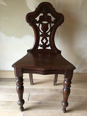 Fine William IV Pierced And Carved Mahogany Shield Back Hall Chair