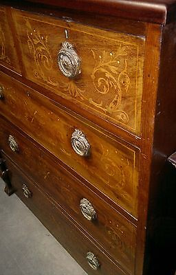 Very fine Victorian Inlaid mahogany chest of Drawers floral flowers foliate 1