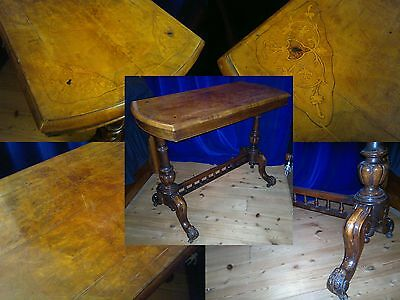 Christies Victorian Inlaid Walnut Carved Stretcher Table Occasional Hall Desk