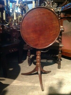 Antique Georgian Mahogany Round Snap Tilt Dish Top Tea Centre Occasional Table
