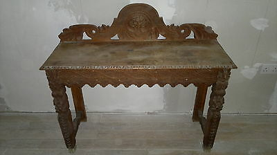 Victorian Green Man Carved Oak Hall Table Occasional Desk Buffet Ornate Stripped