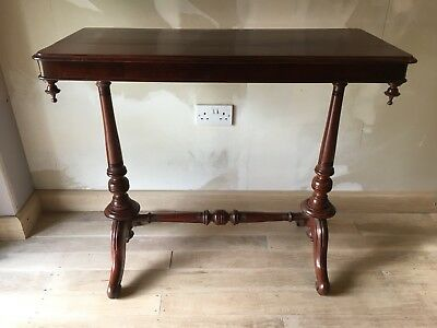 Early Victorian Gothic Antique Mahogany Library Stretcher Table, English C. 1840