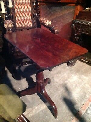 Georgian Mahogany Rectangular Snap Tilt Top Tea Centre Occasional Tripod Table